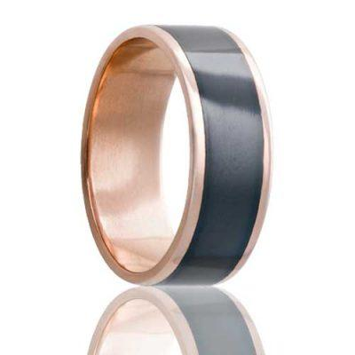 Men's Rose Gold Wedding Band | Zirconium Inlay