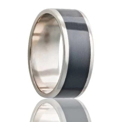 Men's White Gold Wedding Band | Zirconium Inlay