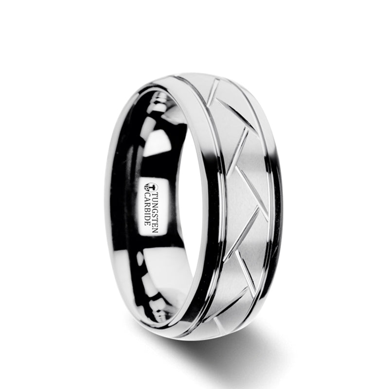 TRENZA | Domed Tungsten Carbide Ring with Crisscross Grooves and Brushed Finish | 8mm - TCRings.com
