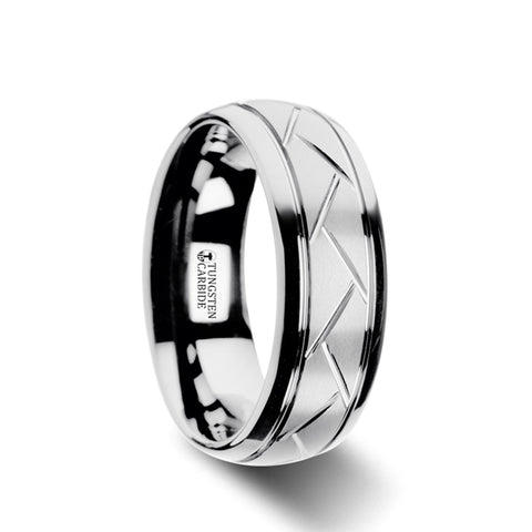 TRENZA    Domed Tungsten Carbide Ring with Crisscross Grooves and Brushed Finish     |    8mm