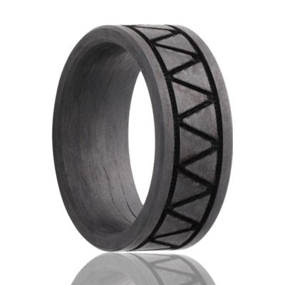 TRIAD | Solid Carbon Fiber with Triangular Pattern | 8mm - TCRings.com