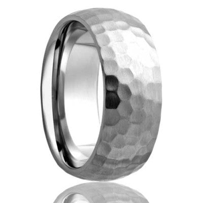 6mm TRINIDAD    Domed Cobalt Band with Satin Hammered Finish    6mm,7mm & 8mm - TCRings.com