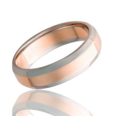 White Gold Wedding Ring with Rose Gold Center