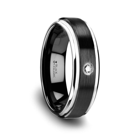 TUXEDO | Black Ceramic Diamond Wedding Band with Polished Beveled Step Edges & Raised Brushed Center | 6mm & 8mm