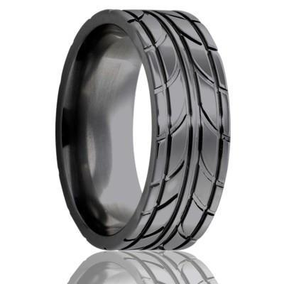 Black Wedding Ring with Tire Tread Design