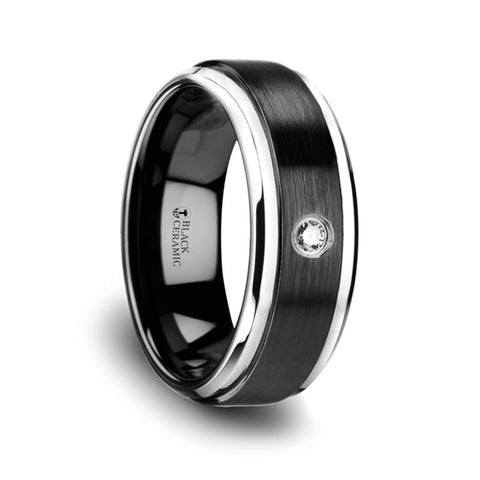 TUXEDO  Black Ceramic Diamond Wedding Band with Polished Beveled Step Edges & Raised Brush Center   8mm