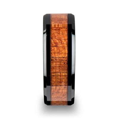 Black Ceramic Wedding Ring Mahogany Inlay