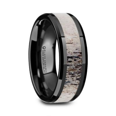 VELVET | Men's Wedding Ring | Deer Antler Inlay | Black Ceramic | 8mm