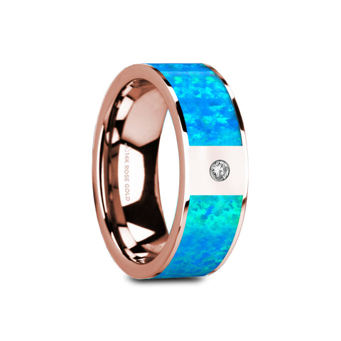 VENUS | Flat Polished 14K Rose Gold with Blue Opal Inlay & White Diamond Setting | 8mm - TCRings.com