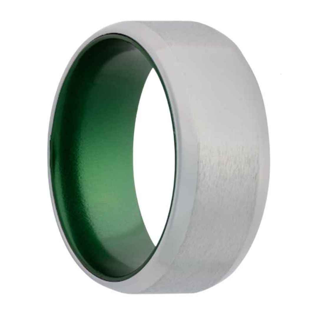 Men's cobalt wedding ring with green inlay & beveled edges