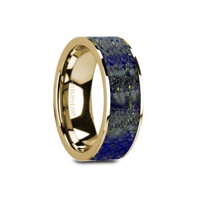 Men's Gold Wedding Band with Lapis Inlay
