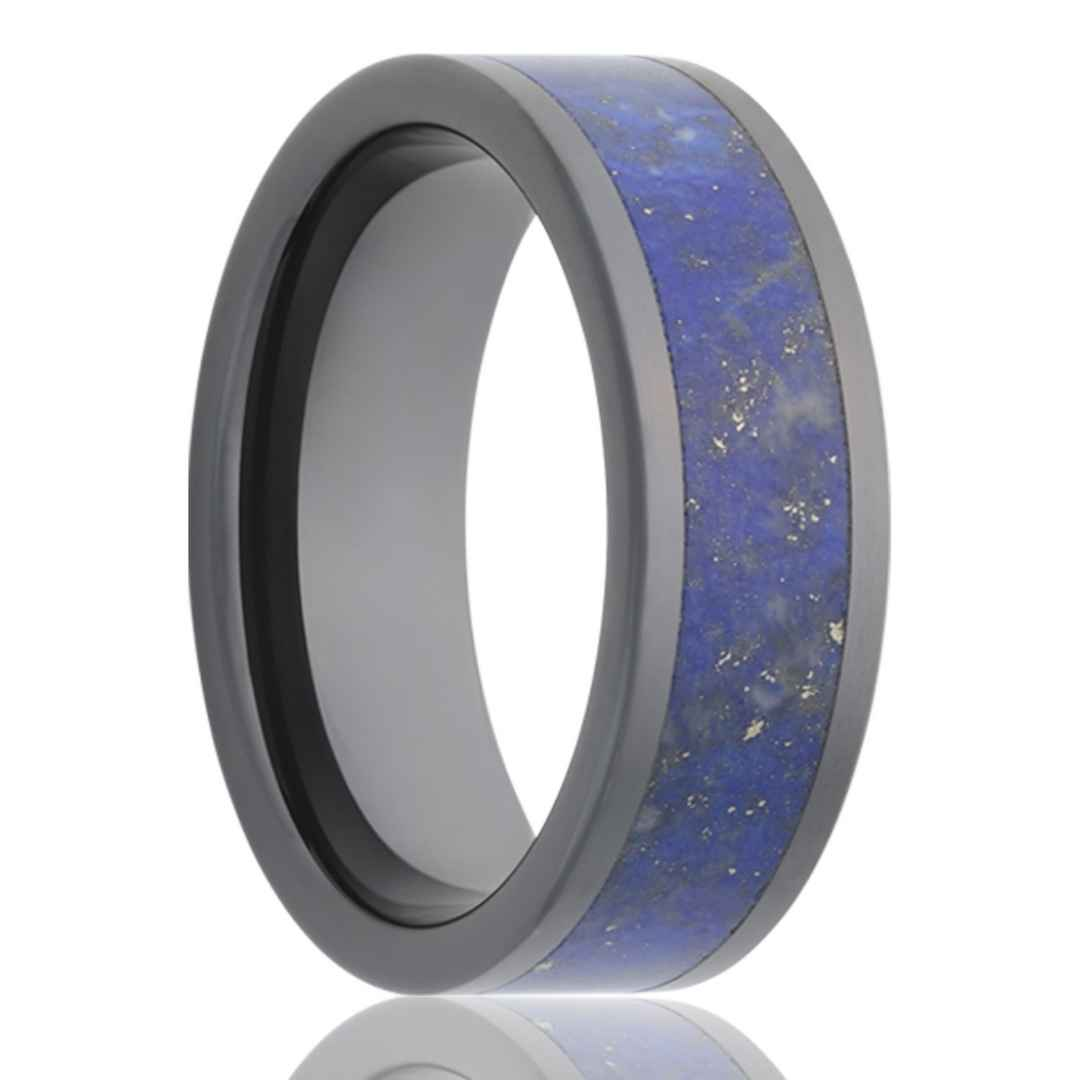 Men's black ceramic wedding ring with blue lapis inlay