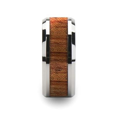 Men's Wedding Band Tungsten Band with Rosewood Inlay