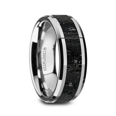 Tungsten Wedding Band with Lava Rock Inlay