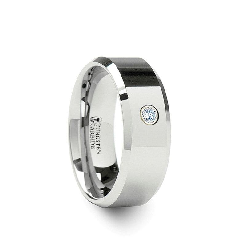 WATERFALL    Tungsten Carbide Band with Solitary Diamond Setting    |    6mm & 8mm - TCRings.com