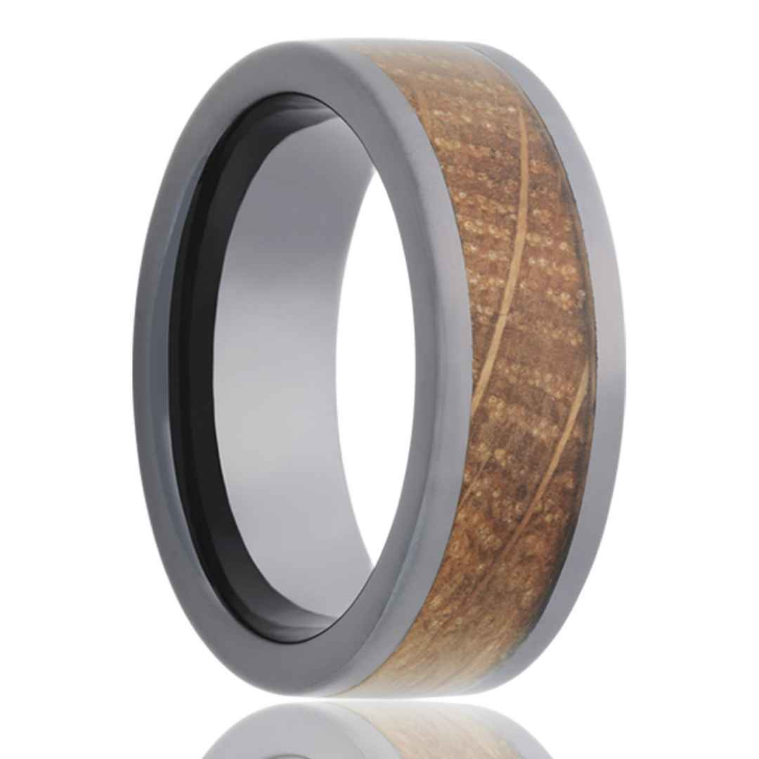 Men's black  ceramic whiskey barrel wedding ring