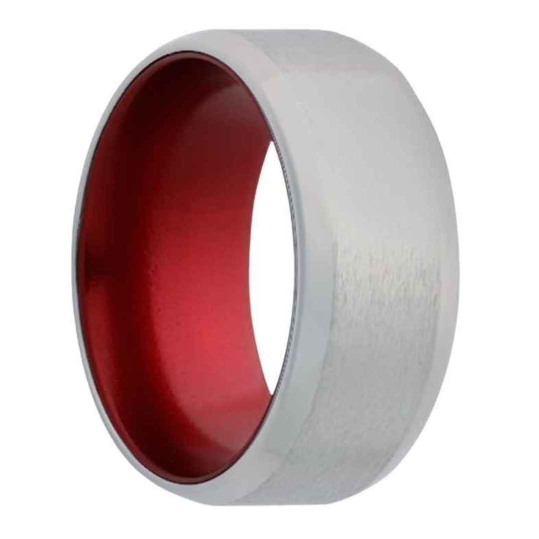 Men's cobalt wedding ring with red interior & beveled edges