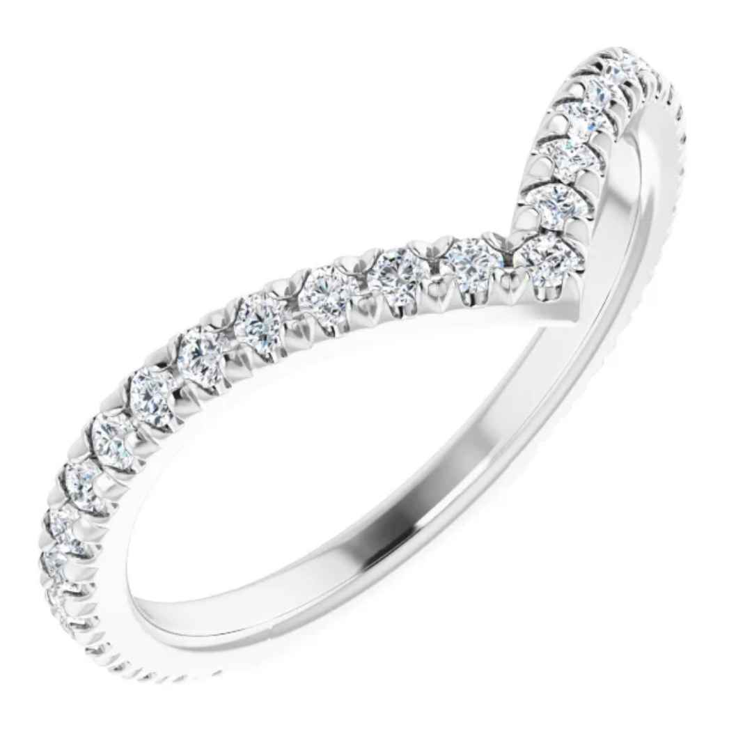 Women's 14K white gold v-shape diamond wedding ring