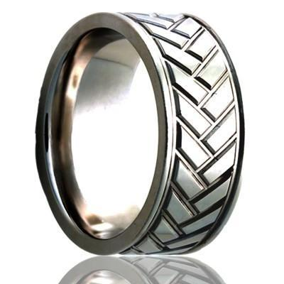 Men's Wedding Ring Titanium Tire Tread Design