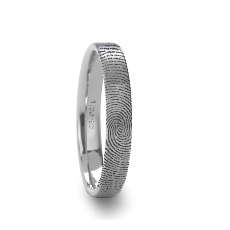 WATERMARK Fingerprint Engraved Flat Pipe Cut Tungsten Ring Brushed Ring    4mm, 6mm & 8mm