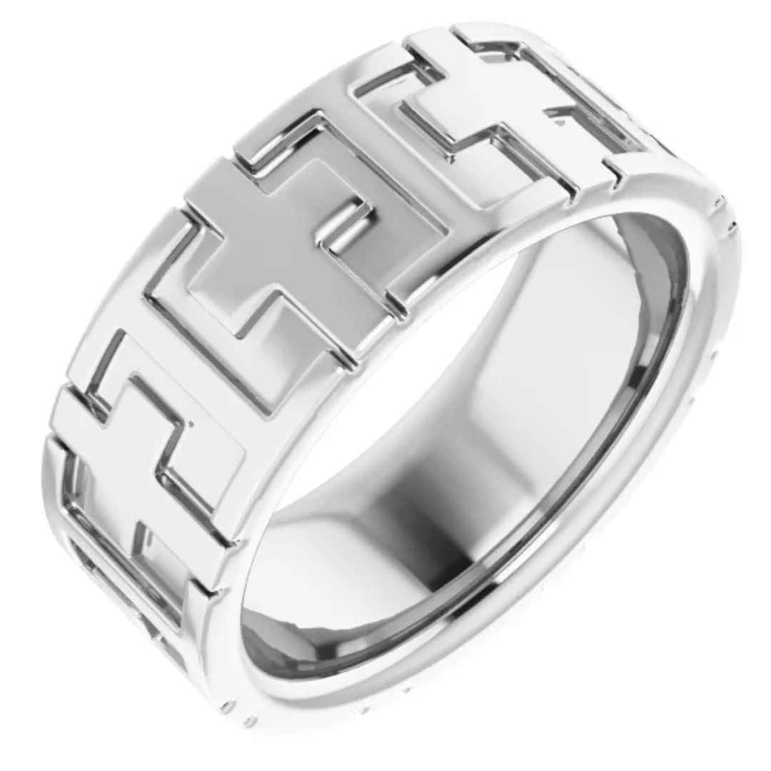Men's 14k white gold cross wedding ring
