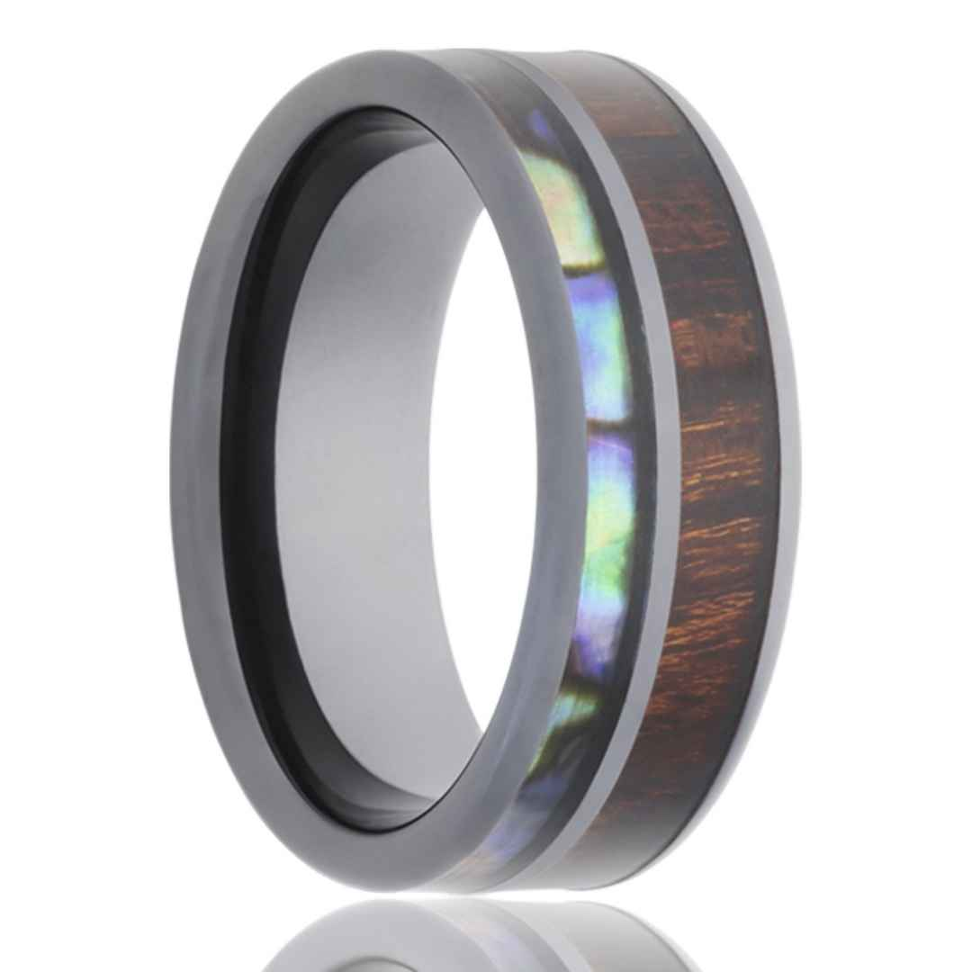 Men's black diamond ceramic with koa wood and abalone inlay wedding ring
