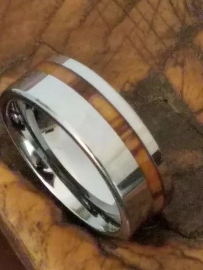 Men's Wedding Ring with Zebra Wood Inlay