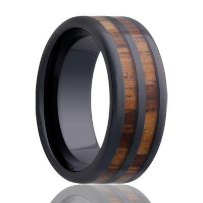 Men's Black Wedding Band with Wood Inlays