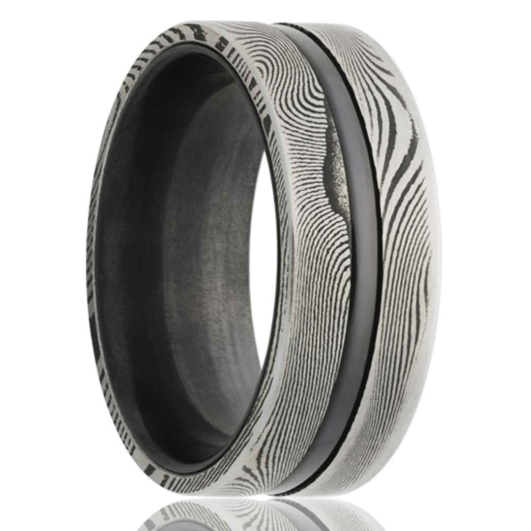 Men's Zirconium Wedding Ring with Damascus Steel Overlay