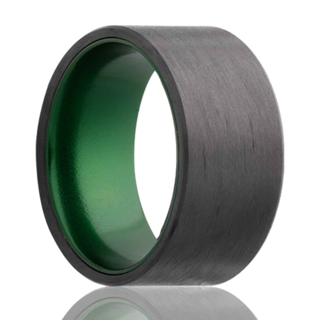 Men's carbon fiber wedding ring with green inlay