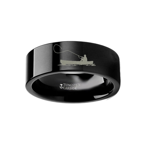 FISKER | Fishermen's Engraved Flat Black Tungsten Ring | 4mm, 6mm, 8mm, 10mm & 12mm - TCRings.com