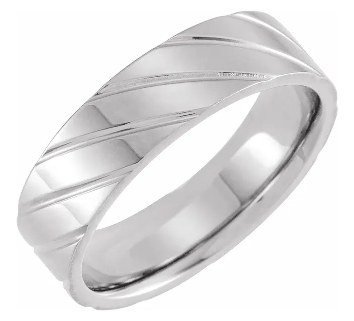 Men's White 14k Gold Wedding Ring