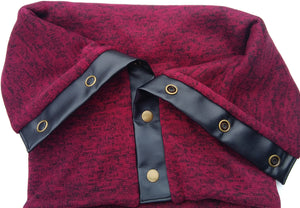 BURGANDY RED COWL (GOLD SNAPS) - Snap Scarf