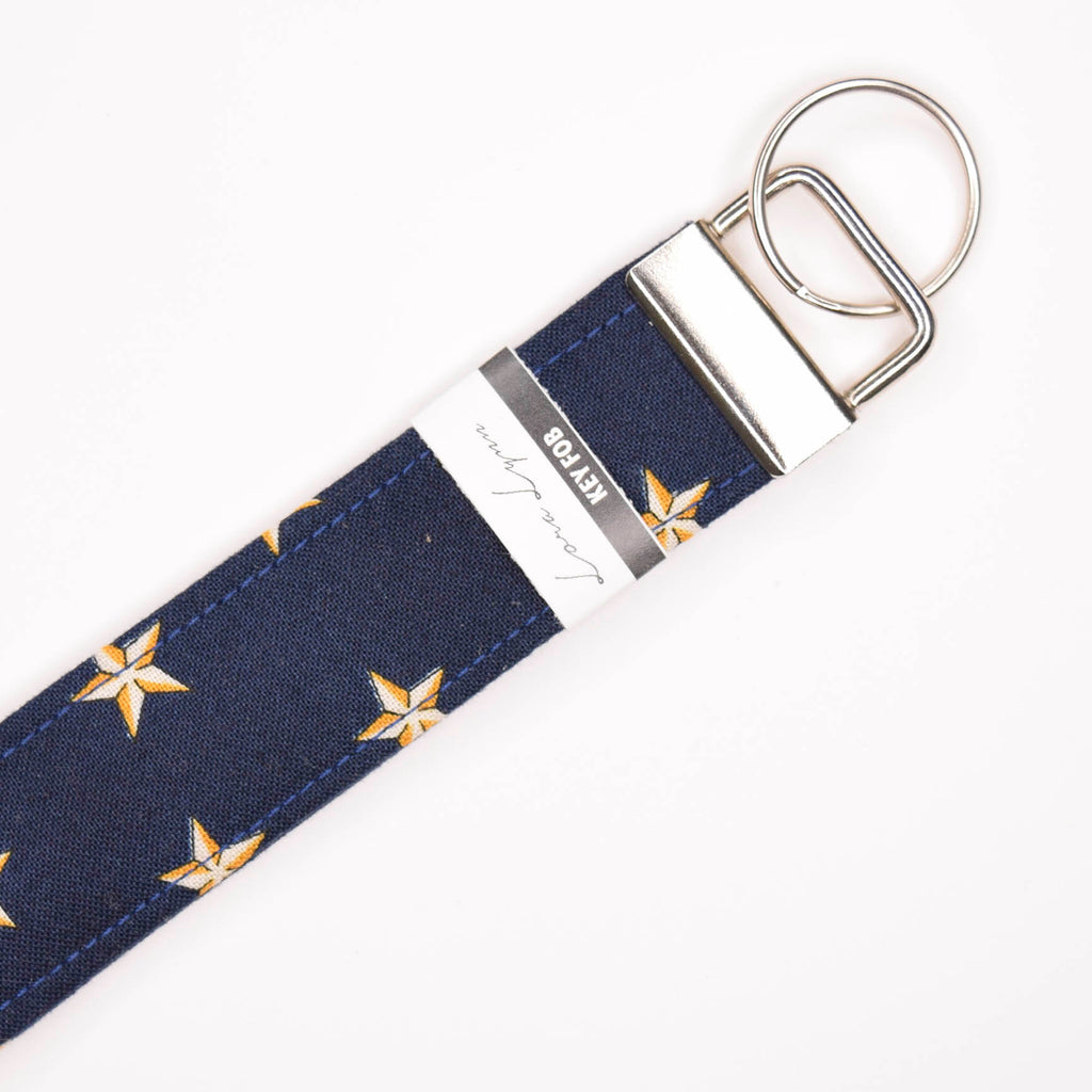NAVY WITH GOLD STARS 22 Key Fob Wristlet