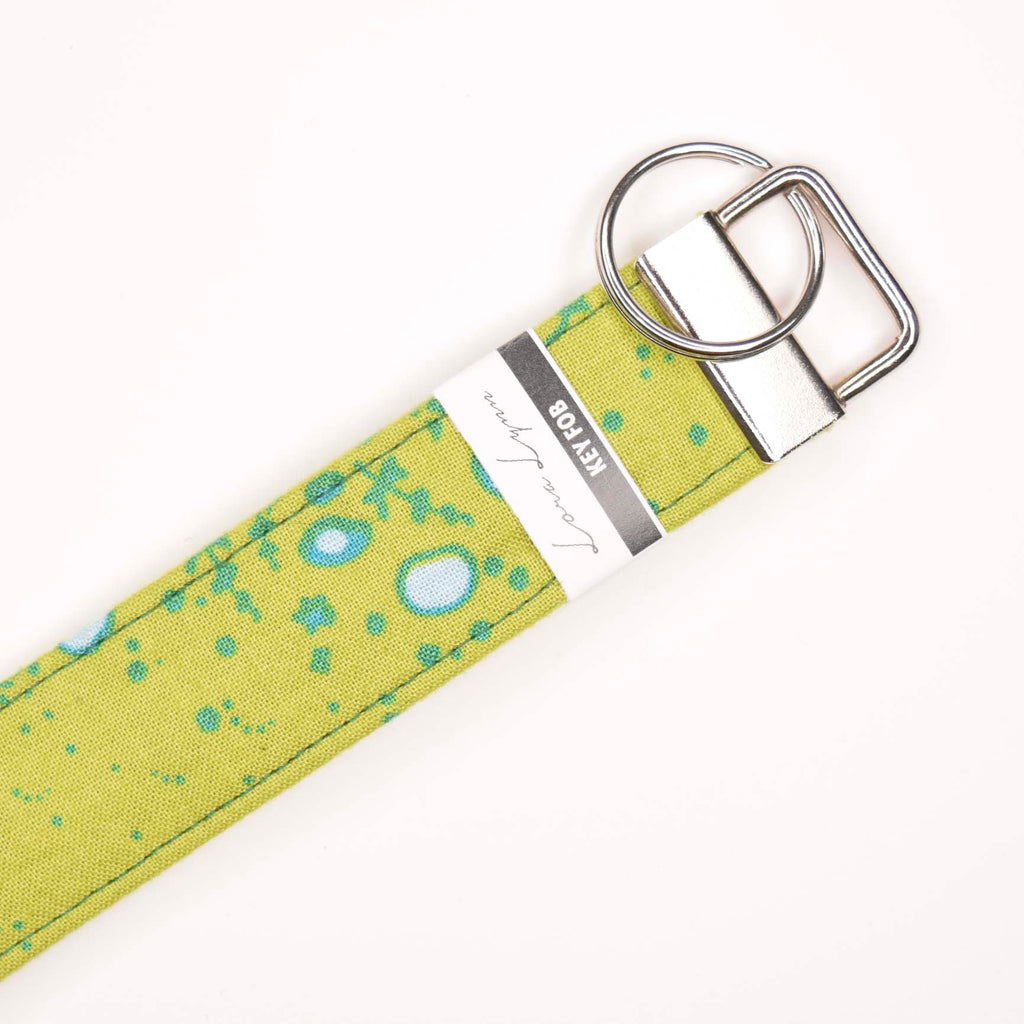 GREEN TEAL CIRCLES 18 Key Fob Wristlet
