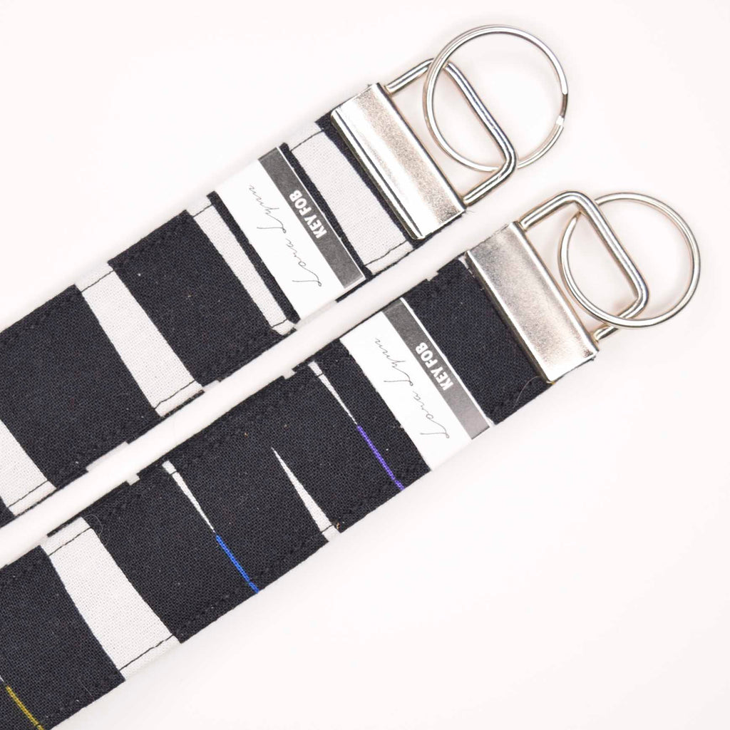 BLACK WHITE THIN STRIP OF COLOR 11 Key Fob Wristlet