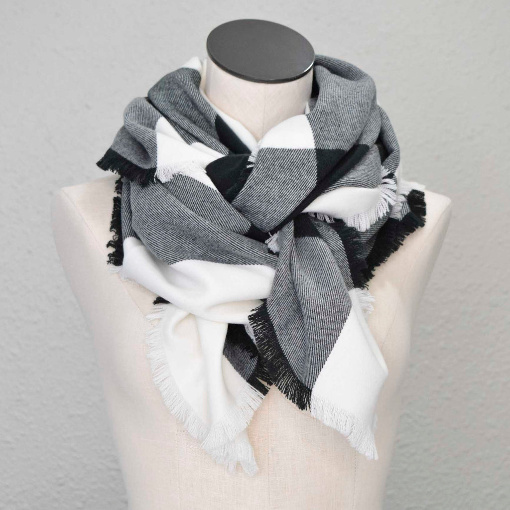 Black White Gray ACRYLIC - Blanket Scarf