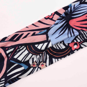 BLUE (NAVY)PINK & WHITE print -11-Wide Headband