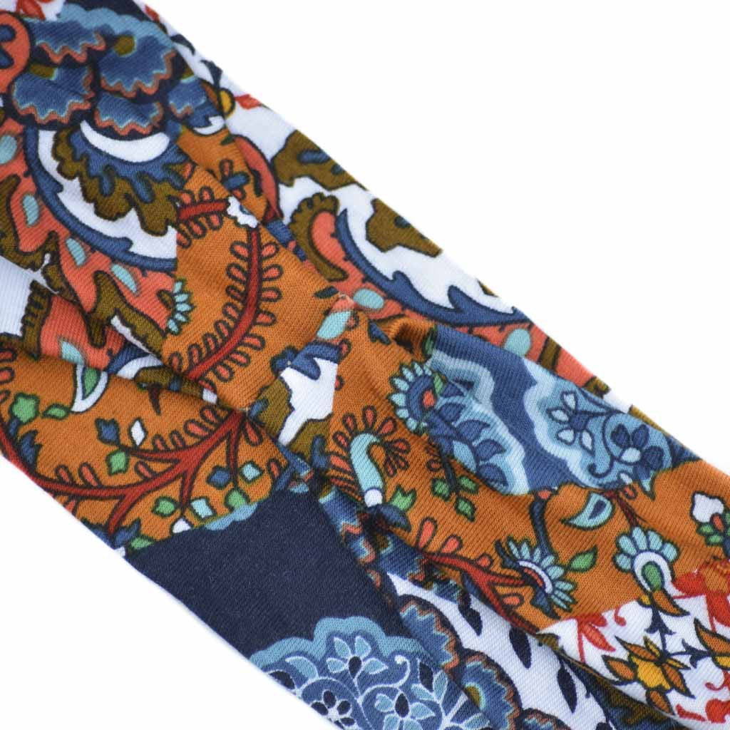 BLUE ORANGE LARGE PAISLEY - Wide Headband