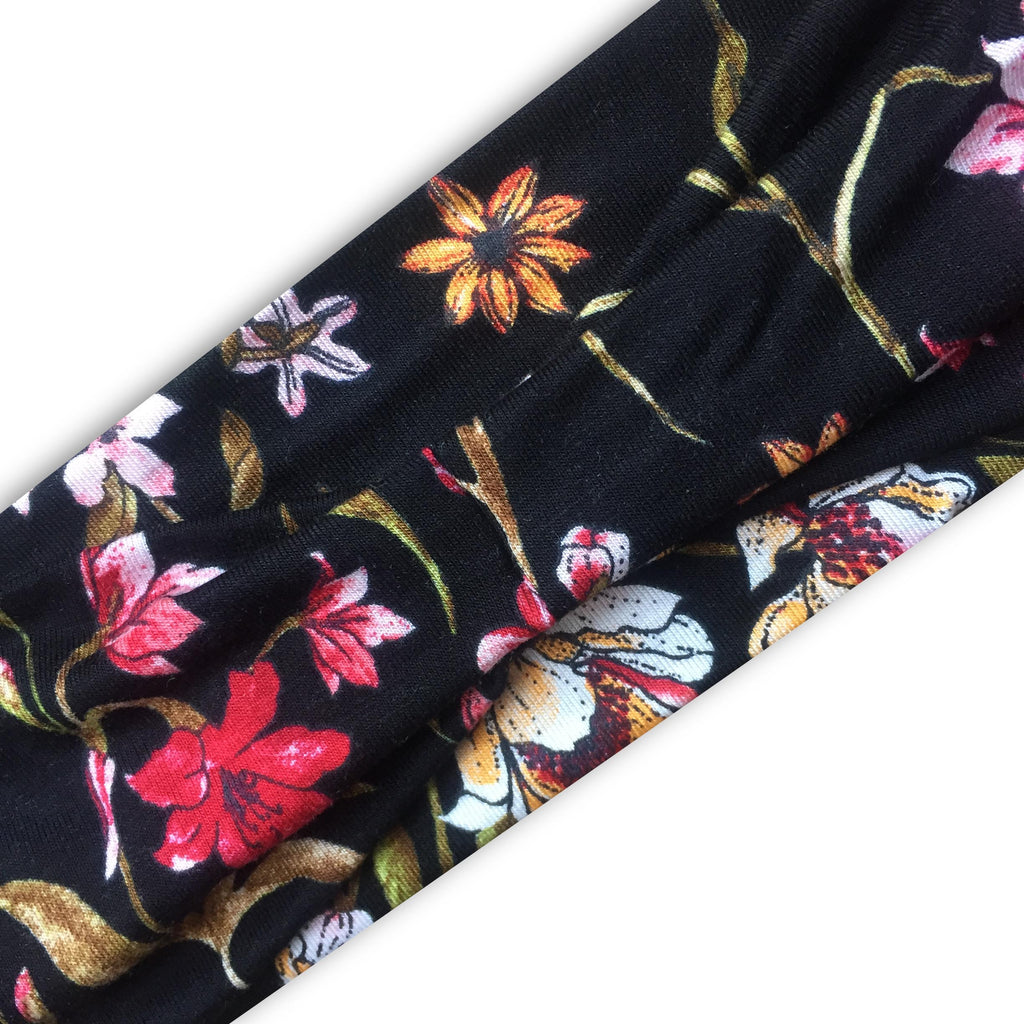 BLACK (DETAILED FLORAL) PRINT 36 - Wide Headband