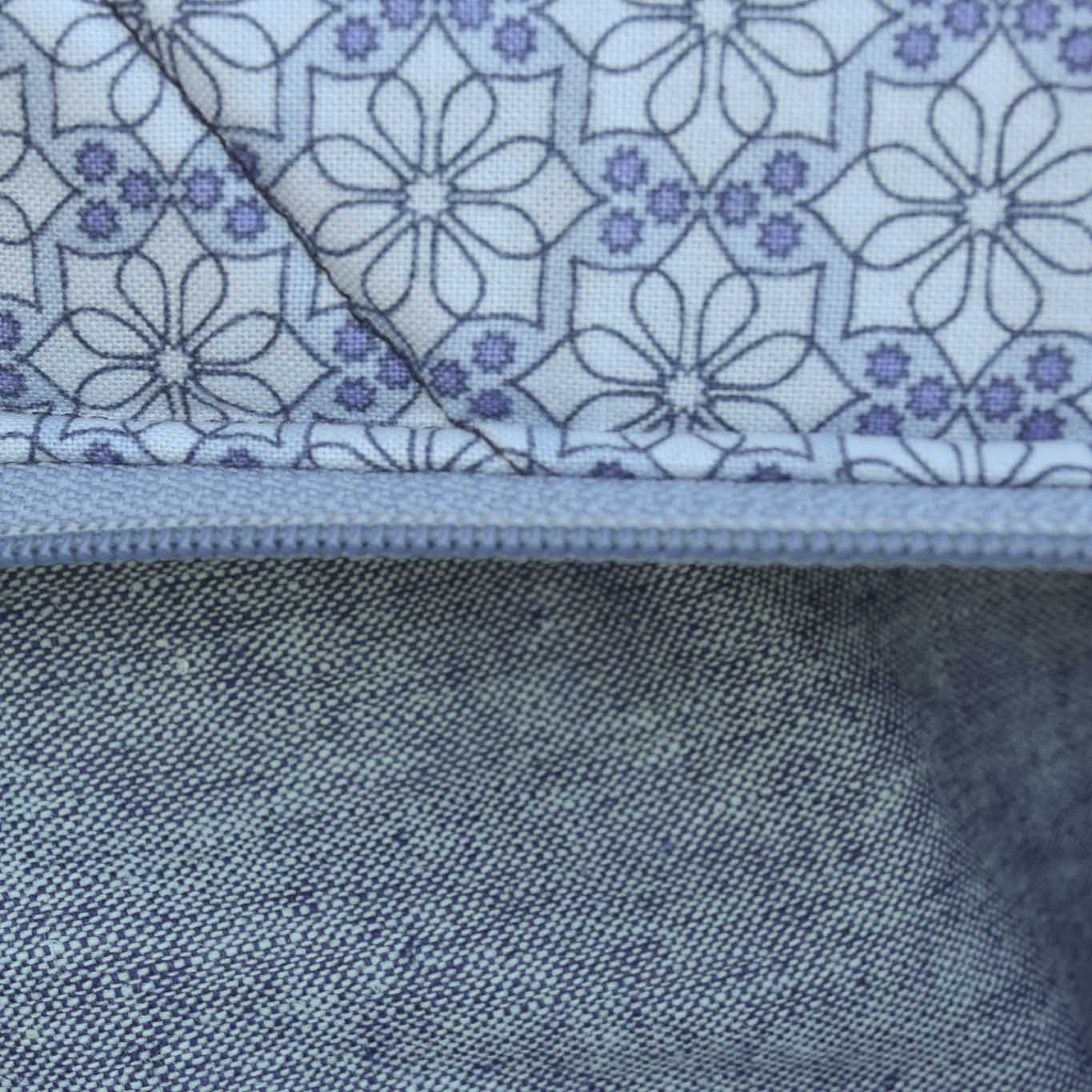 LIGHT BLUE FLORAL WITH LINEN - Large Toiletry Bag