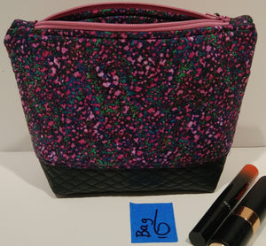 6-  Cosmetic Bag -purple, lavender, green with black leather bottom
