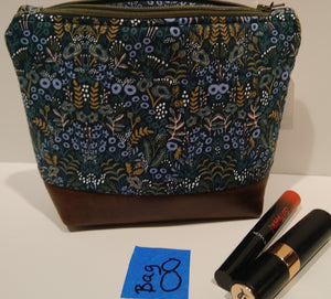8-  Cosmetic Bag -teal, tan print with brown leather bottom