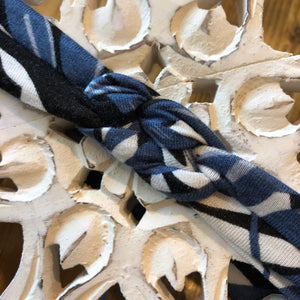 BLUE PALM PRINT - Knotted Headband