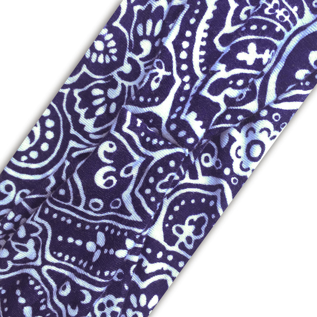 BLUE (INDIGO) WHITE PRINT - Wide Headband