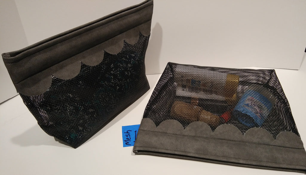 1Mesh-  Cosmetic Bag- olive green scallop edge
