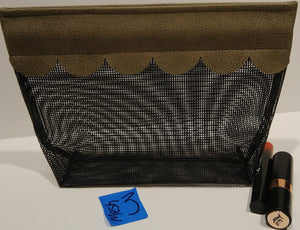3Mesh-  Cosmetic Bag-tan scallop edge
