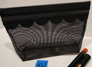 4Mesh-  Cosmetic Bag-black scallop edge