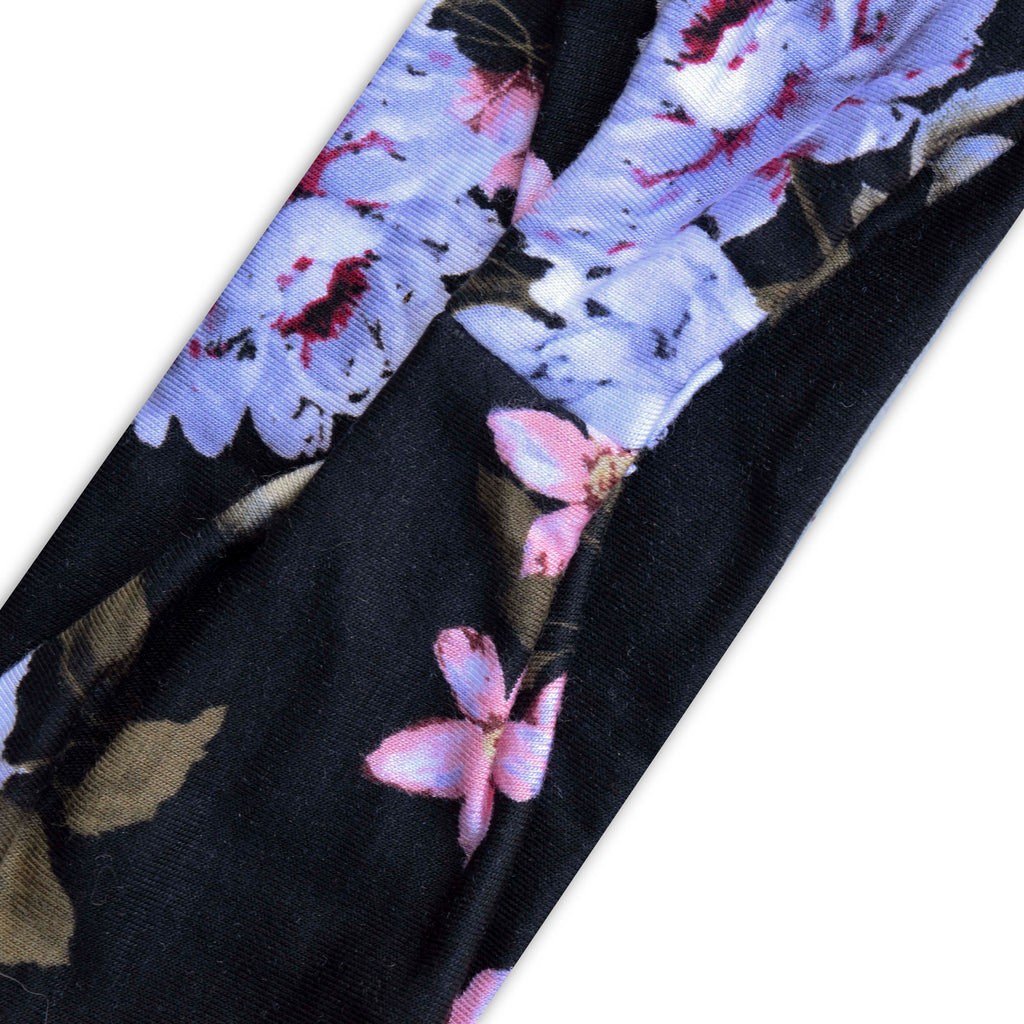 BLACK (LARGE LAVENDER/SMALL PINK FLORAL) PRINT 37- Wide Headband