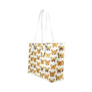 Small Yellow Butterflies Leather Tote Bag - Freedom Look